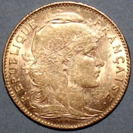 10 Fr. Gold Gallischer Hahn 1911 Frankreich  in vz.  Dealer Badisches Auktionshaus  Auction Minimum Bid: 150.00EUR