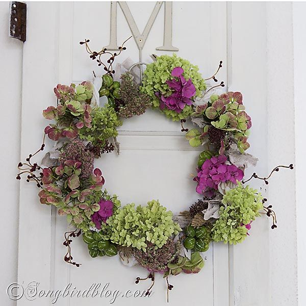 Fall Wreath with Colorful Hydrangeas