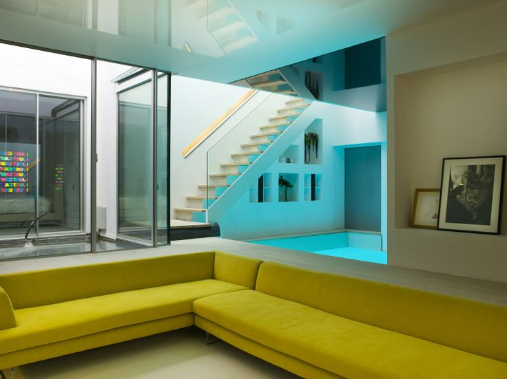 sunken living space with mood lighting in home dance floor london