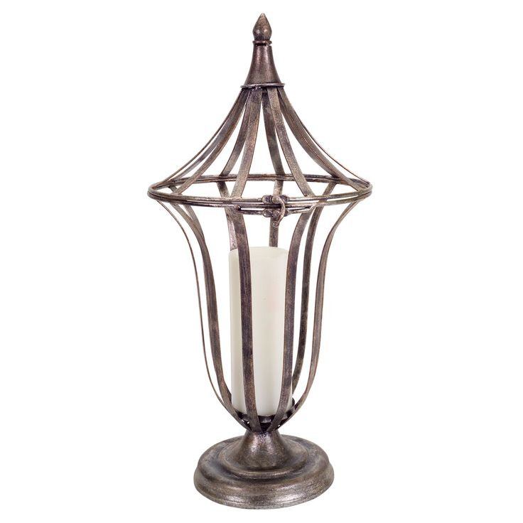 Silver And Bronze Open Antique Lantern Melrose International Indoor Candle Lanterns Candle
