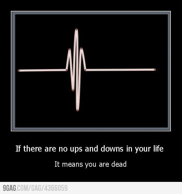 If there are no ups and downs in your life It means