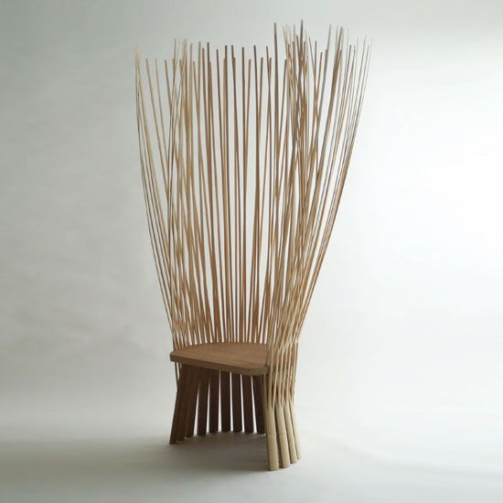 Takada's work is distinguished by its graphical qualities, its unconventional ergonomics, and its formal relationship to traditional cultural objects like Japanese fan. This unusual throne-like chair stands 1.8 meters high and borrows its bristly good looks from the traditional whisk used in the Japanese tea ceremony.