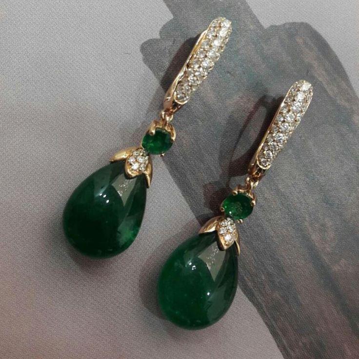 Earrings diamonds and emeralds