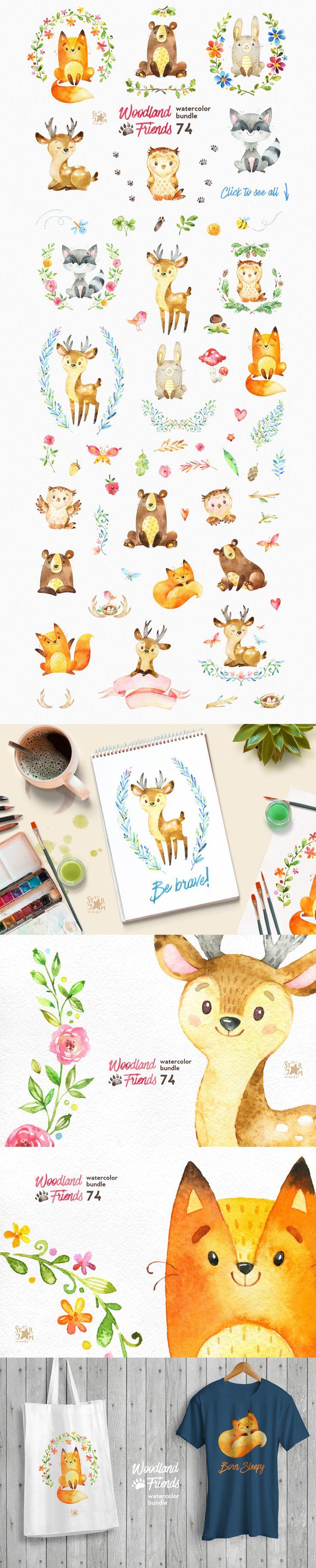 Woodland Friends Watercolor Bundle - https://www.designcuts.com/product/woodland-friends-watercolor-bundle/