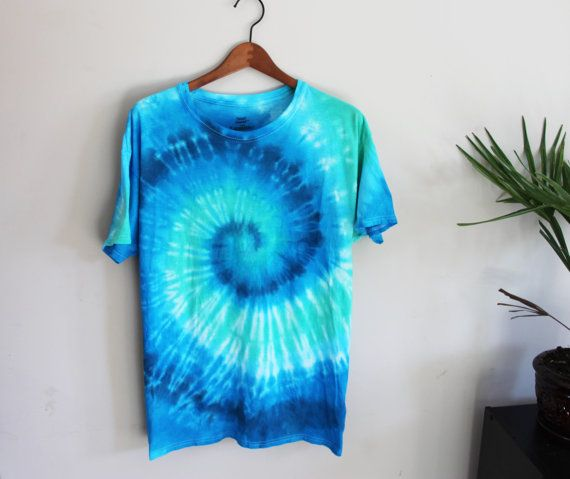 Blue and Sea Green Spiral Tie Dye Shirt - Vibrant - 100% Cotton