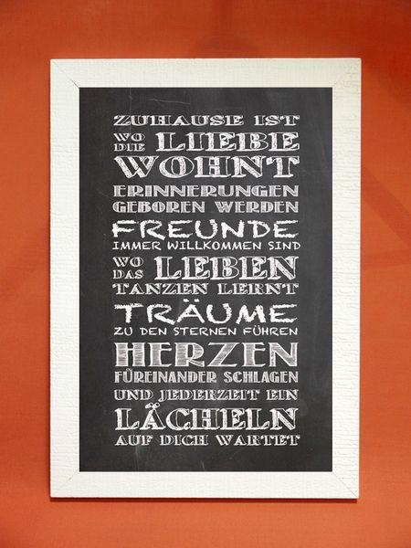 """Kunstdruck mit Spruch """"Zuhause"""" von Foto-Design & Digital-Art auf DaWanda.com"""