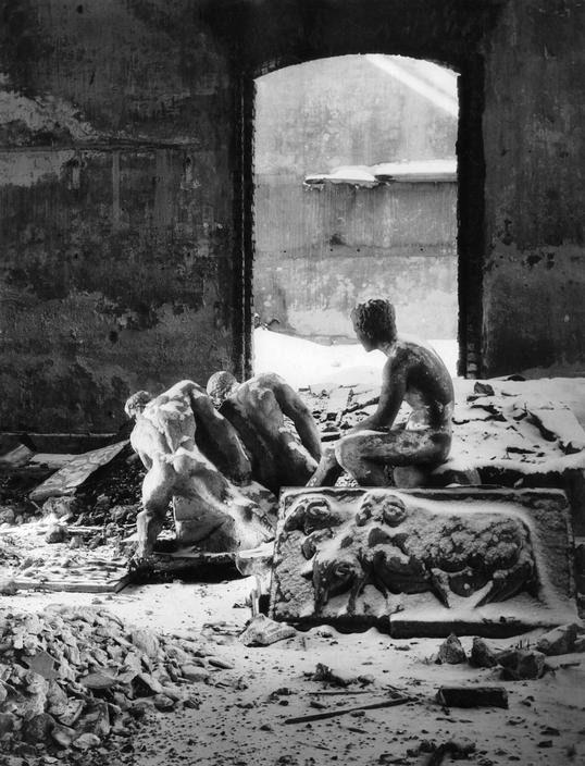 herbert list / in the devastated academy of arts' storeroom . munich (1945-46)