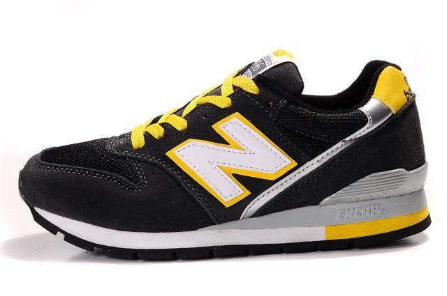 Euramerican stijl New Balance 996 Heren Zwart Geel Wit Schoenen Elegante
