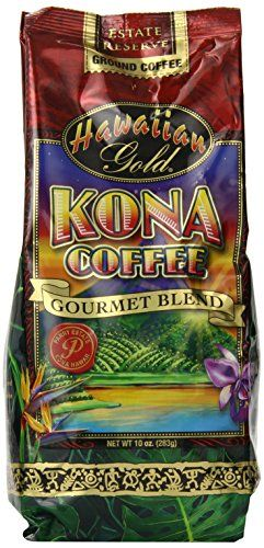 Kona Hawaiian Gold  Kona Coffee, Gourmet Blend Ground Coffee, 10 Ounce - http://teacoffeestore.com/kona-hawaiian-gold-kona-coffee-gourmet-blend-ground-coffee-10-ounce/