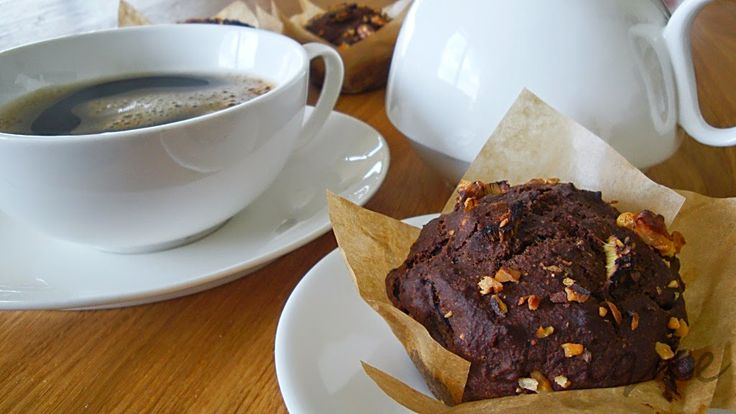 Karobové muffiny s rebarborou