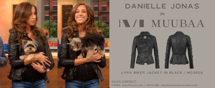 Danielle Jonas in our Lyra Leather Biker Jacket on Rachael Ray