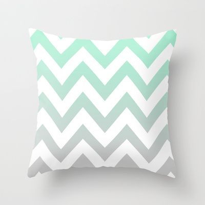 MINT+GRAY+CHEVRON+FADE+Throw+Pillow+by+natalie+sales+-+%2420.00