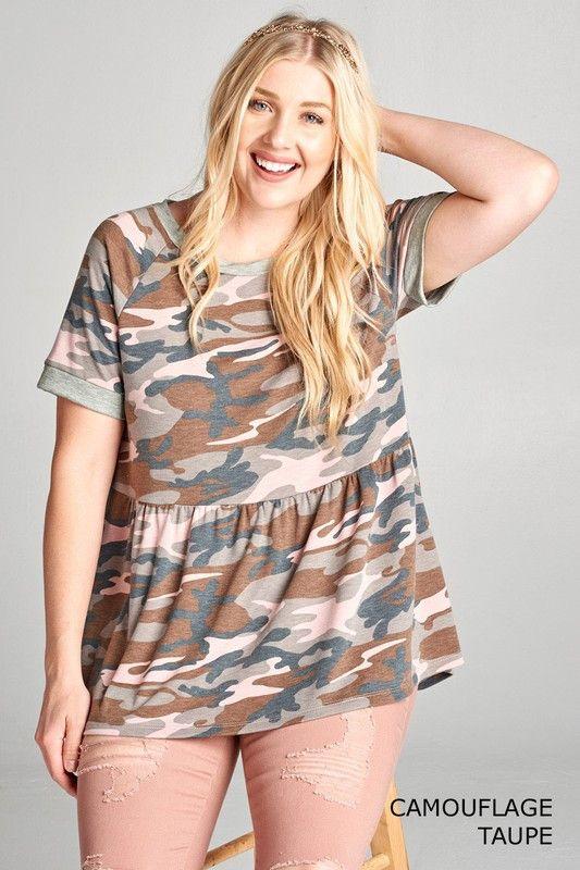 plus size fashion for women, plus size outfit, plus size summer, camo top, camo fashion, camo for girls