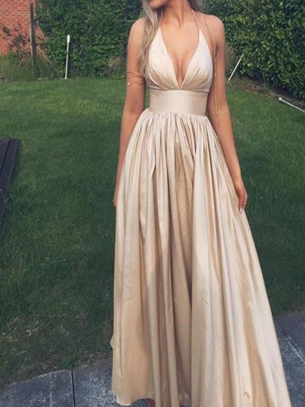 Spaghetti V-Neck Long A-line Prom Dresses, Champagne