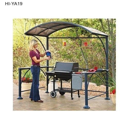 Deck Gazebo Kit Patio Outdoor Big Hard Top Canopy Arbor Metal Bar Grill  Garden A