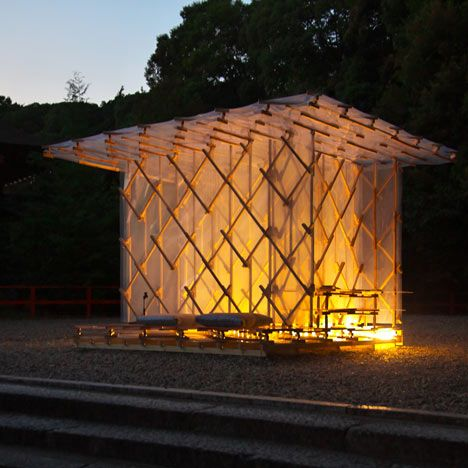 Japanese architect Kengo Kuma built this temporary hut using cedar, ETFE plastic and magnets to pay tribute to a humble dwelling chronicled by Japanese author Kamono Chomei over 800 years ago