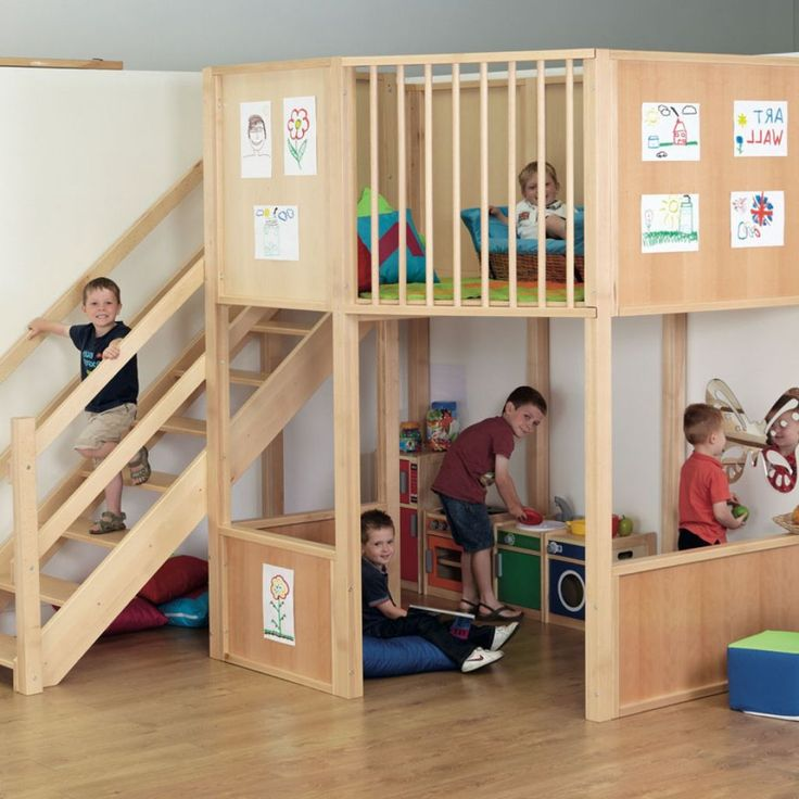 Uncategorized , Awesome Looking Indoor Playground with Funny Design Applied As Part of Daycare Centers Decoration : Indoor Play Loft For Children   Toodler To Preschooler : Nice And Safe Design For Indoor Playground With Nice Simple Decorations