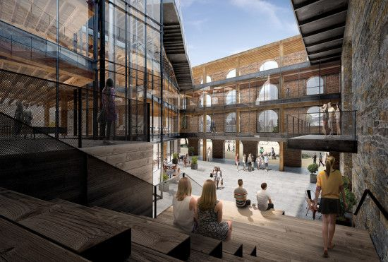 The open-air courtyard. (Courtesy Midtown Equities, Rockwood Capital & HK Organization)  http://blog.archpaper.com/2015/01/dumbos-enormous-empire-stores-warehouses-going-brooklyn-new-renderings-prove/