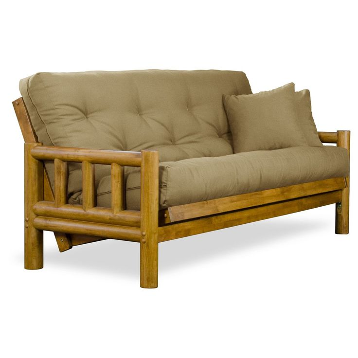 """Rustic Tahoe Log Futon Sofabed Set - Queen Frame, 8"""" Thick Khaki Mattress, Rich Heritage Finish"""