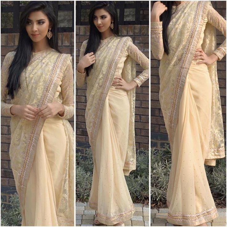 Loving Rumena Begum wearing our signature lace Saree. Get this glam elegant saree online at diyaonline.com (SR-855, £45.99)
