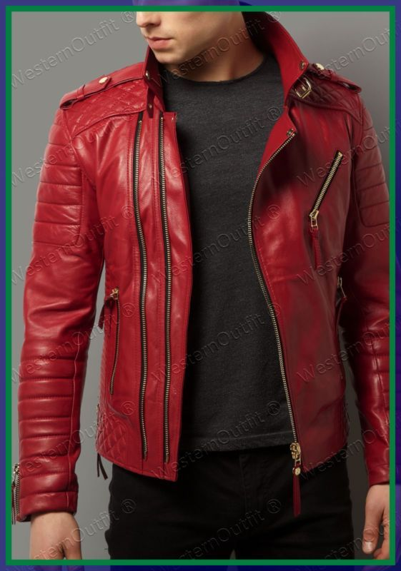 Lambskin Leather Jacket Genuine Mens Stylish Biker Motorcycle Red slim fit X21