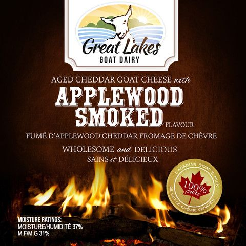 Applewood Smoked Aged Cheddar Goat Cheese – Great Lakes Goat Dairy