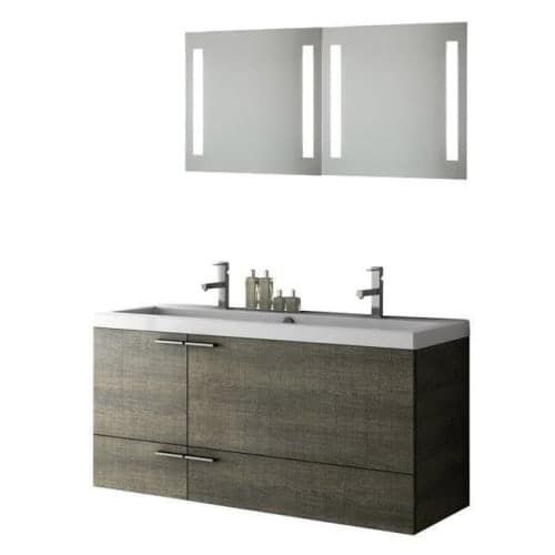 Nameeks ANS280 ACF 47 Wall Mounted Vanity Set with Wood Cabinet, Ceramic Top with 1 Sink and 1 Mirror (