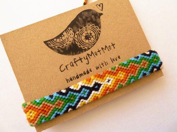 Unusual Arrowhead Aztec Bracelet unisex macrame by CraftyMotMot