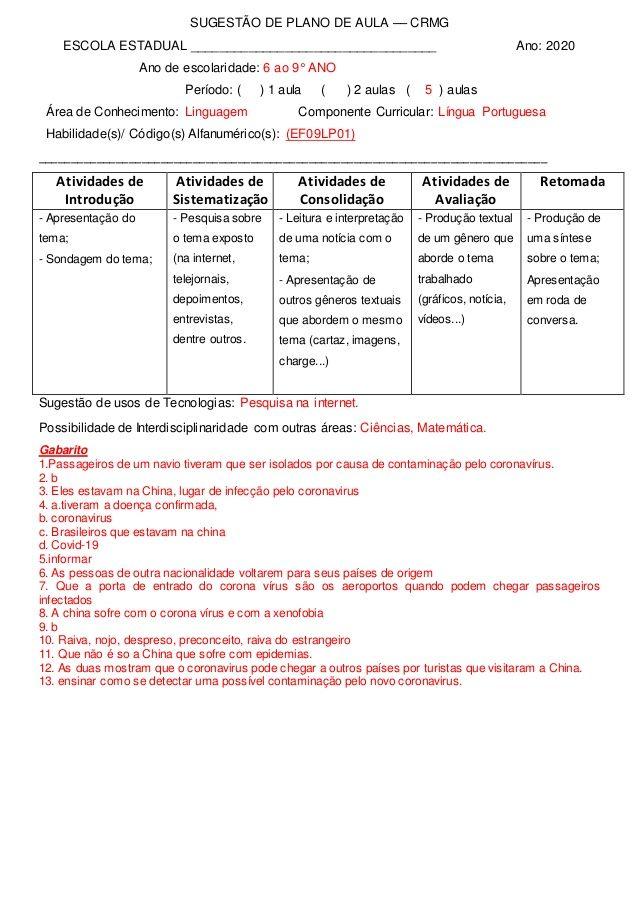 Plano De Aula Lingua Portuguesa Ef69lp01 Habilidade Bncc Crmg Em