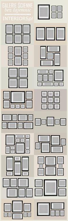 Diverse mogelijkheden voor het rangschikken van een fotocollage aan de muur