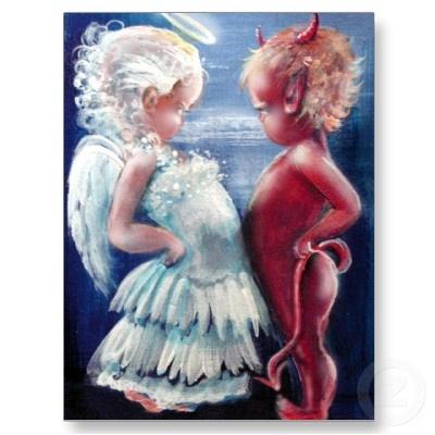 Best Fairy and Fantasy Art Gifts: Angel And Devil Tattoo, Fairies Tail, Fantasy Art, Children Cartoon, Demons Fantasy, Artworks Appreciation, Art Gifts, Fairies And Fantasy, Angel Devil