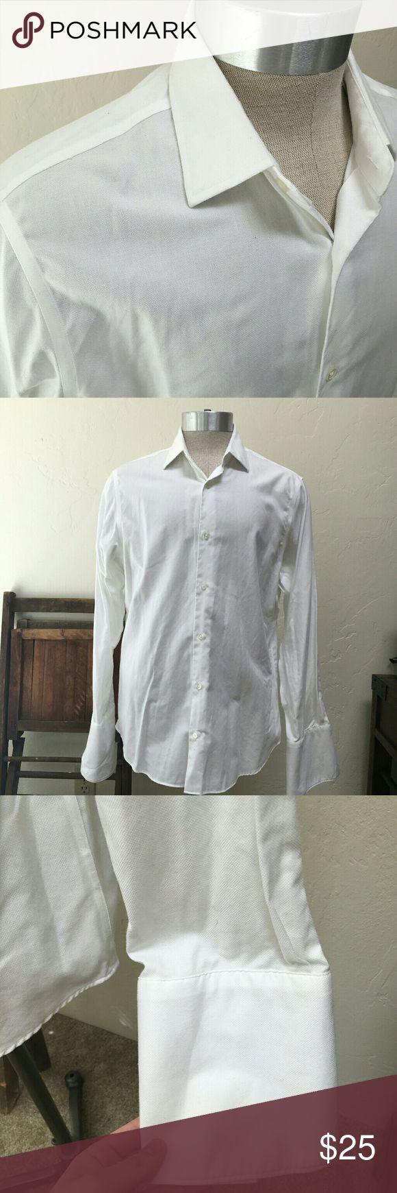 Banana Republic dress cufflink shirt Large Used white dress shirt.  Cufflink ends.  Slight yellowing under arm pits. Banana Republic Shirts Dress Shirts