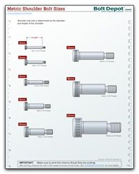 Metric Shoulder Bolt Size Chart