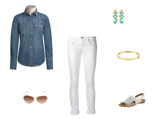 How To Wear A Denim Shirt 12 Different Ways: Wear a Denim Shirt With White Jeans