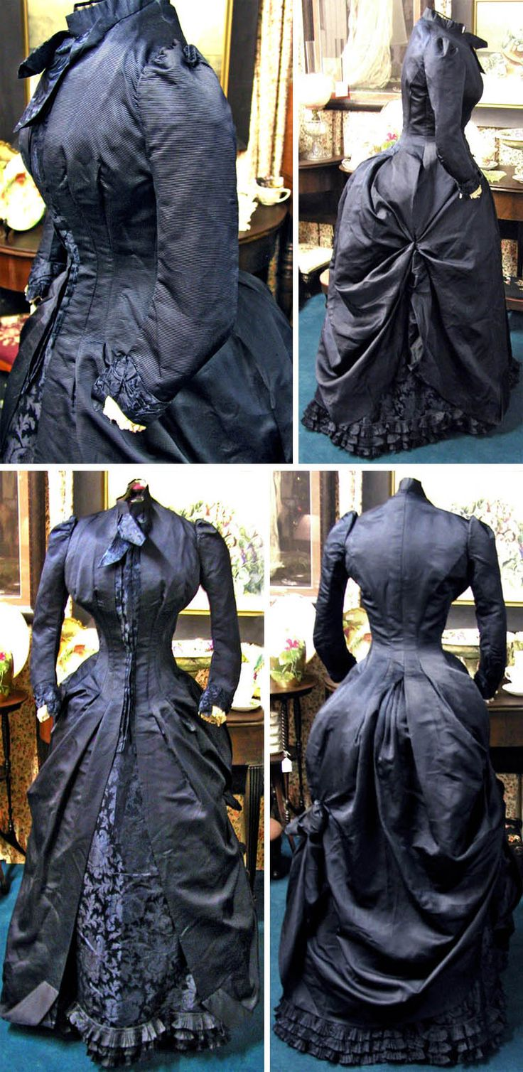 Day dress ca. 1880s. Deep midnight blue silk brocade with ivory pleated silk inside sleeves and silk-covered buttons. Closes with hooks & eyes. svpmeow1/ebay