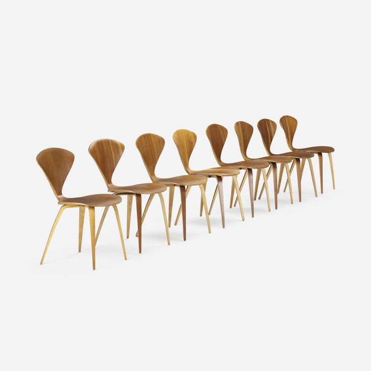 lot 366 norman cherner dining chairs set of eight walnut plywood 17 w x 21 d x 31 h in estimate signed with partial paper