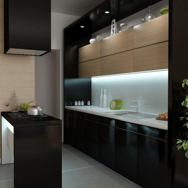 cuisine noire moderne avec accents blancs et bois clair
