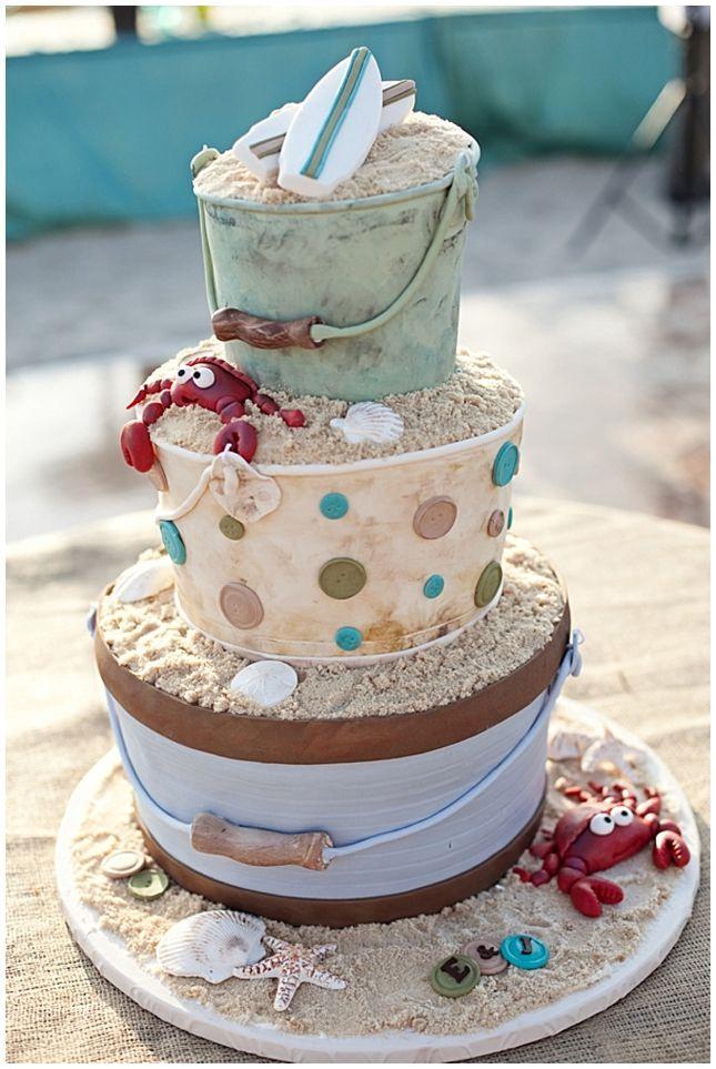 www.weddingrowcalifornia.com | Frenzel Photographers | beach themed cake