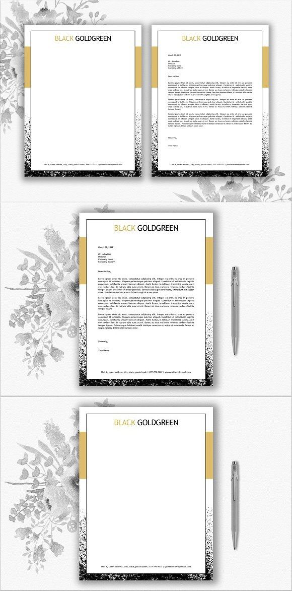 black and gold letterhead template letterhead stationery