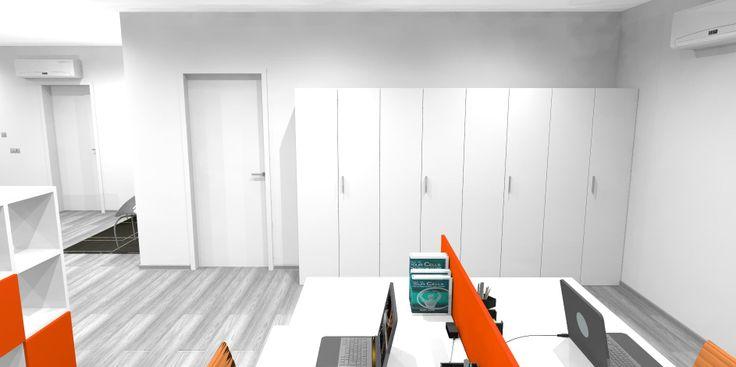 Render archivio ufficio. Armadiature per archiviazione con ripiani interni e serrature.