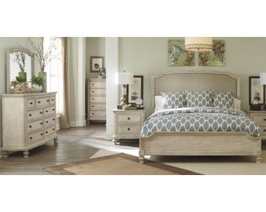 Exceptional 6 Piece Queen Bedroom   Vintage White Finish   Sam Levitz Furniture