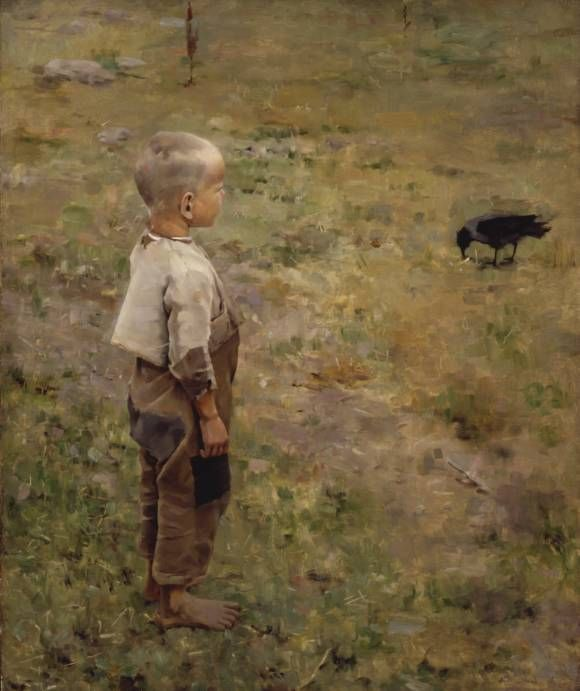 "Axel Gallen (Akseli Gallen-Kallela, Finnish) - ""Boy and Crow"" 1884"