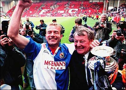 alan shearer with rovers owner jack walker at liverpool when rovers won the premier league 95