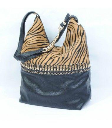 Bolso saco combinado piel de cebra
