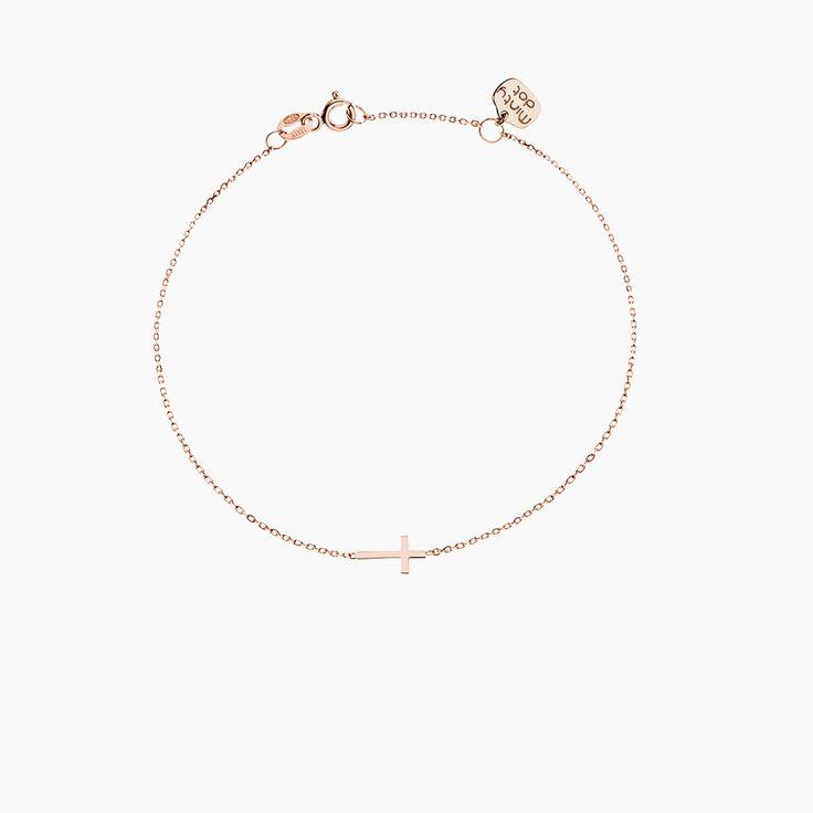 PETIT KRZYŻYK - bransoletka z różowego złota