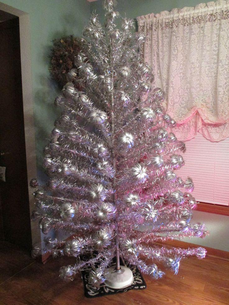 7 Ft Aluminum Christmas Tree 153 Pom Pom Branches Rotating Stand Color Wheel Christmas Tree Christmas Color