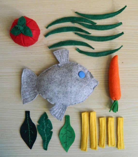 Piatto di pesce in feltro - pesce e verdure felt food - felt fish and veggies
