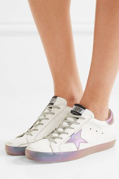 Rubber sole measures approximately 10mm/ 0.5 inches White and iridescent purple leather Lace-up front Made in Italy