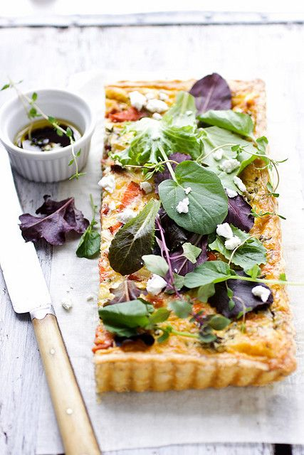 goat cheese herb tart (use feta instead of goat cheese)