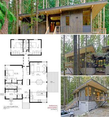 prefab cabin with blueprint